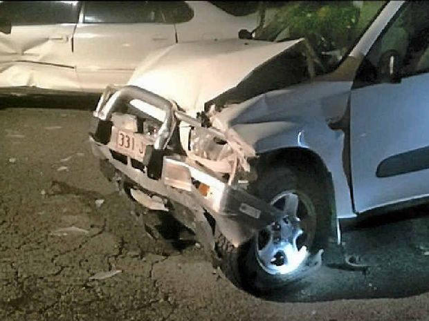 ERROR OF JUDGEMENT: The driver of a Toyota vehicle (pictured front) was found to have a BAC of 0.187% after ramming into two cars parked along Quay St in Rockhampton last month.