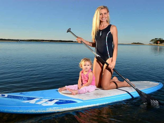 STANDING UP FOR CANCER AWARENESS: Mrs Australia entrant Sarah-Rose Sellars, with daughter Ocean-Rose ,2, at Cotton Tree.