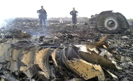 The wreckage of MH17.