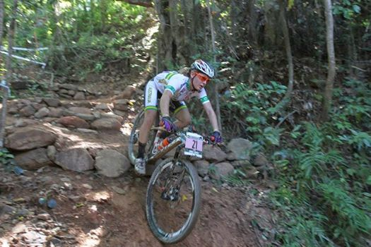 Emily Parkes makes this terrifying descent look easy while competing at the World Cup in Cairns earlier this year.