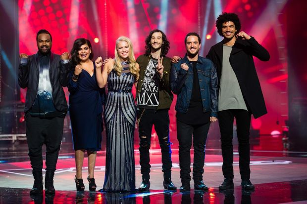 The Voice grand finalists, from left, duo ZK, Anja Nissen, Frank Lakoudis, Jackson Thomas and Johnny Rollins.
