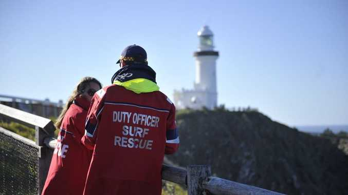 Far North Coast surf life saving duty officer Jimmy Keough during the rescue operation off Cape Byron where a surfer went missing. Photo Marc Stapelberg / The Northern Star