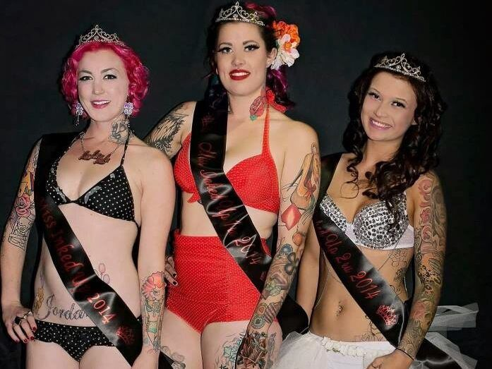Posing after the Miss Inked competition are (from left) winner Amy Lola, second place getter Brittany Ann and third place getter Rachel Bell. Photo Amanda Fairbanks Photography