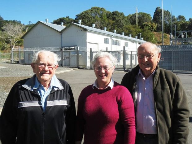 POWER PLANT: Robyn Gray with Ray Musgrave, the power station's last Superintendent, and Richard Crichton who was the power station 'caretaker' when the doors closed in 1988.