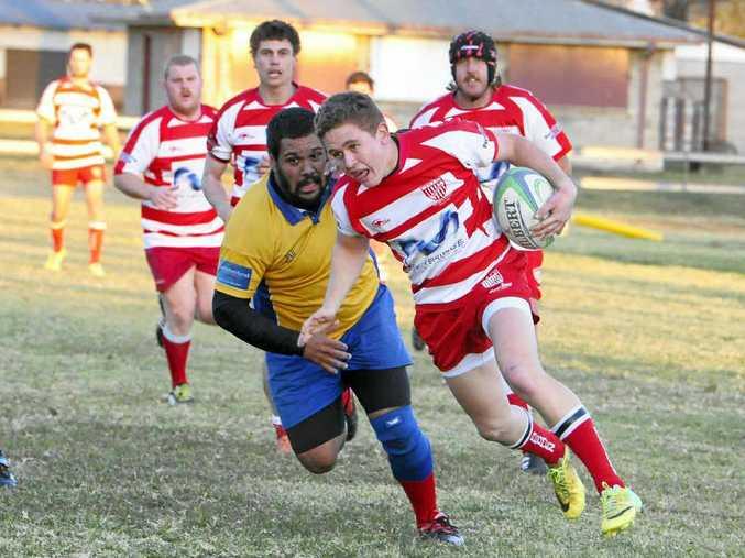 HELLO TRYLINE: Grafton Redmen ran in 14 unanswered tries against Southern Cross Uni in Far North Coast Rugby Union at Grafton Rugby Park on Saturday. Photo: Debrah Novak