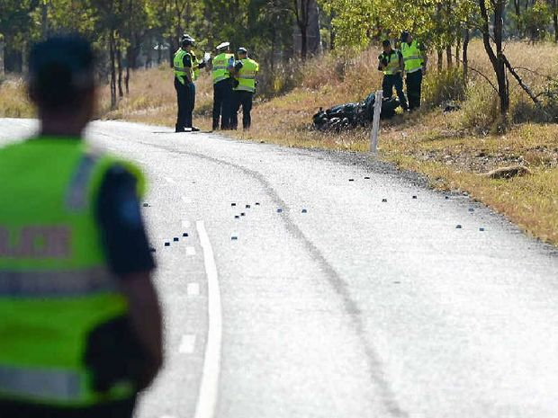 TRAGIC SCENE: The aftermath of a collision between a kangaroo and a bike on Wivenhoe-Somerset Rd that killed an Ipswich man.