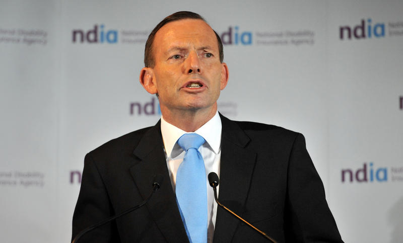 Prime Minister Tony Abbott addresses an audience at the Sheraton Hotel in Geelong, Wednesday, April 30, 2014. Mr Abbott was in Geelong to open the National Disability Insurance Agency headquarters.