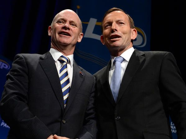 Prime Minister Tony Abbott (right) poses for a photo with Queensland Premier Campbell Newman after addressing the Liberal National Party (LNP) Annual Convention in Brisbane, Saturday, July 12, 2014.