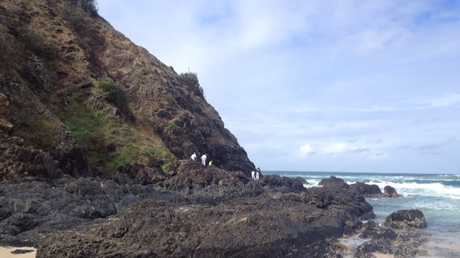 Rescue volunteers search on foot after blood was sighted on rocks at Cozy Corner, at the southern edge of Cape Byron. PHOTO: Megan Kinninment