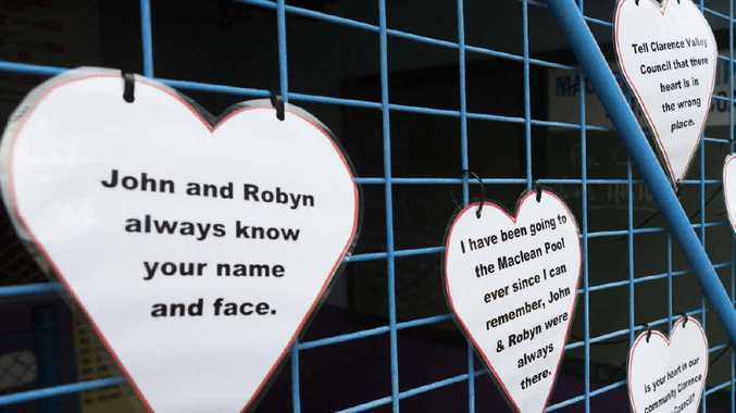 PUBLIC OUTCRY: Signs and hearts in support of current Maclean Pool operators John and Robyn Clarke.