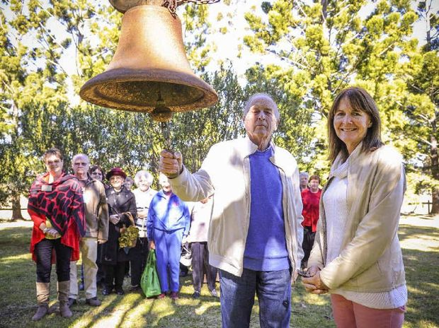 CELEBRATION: Owner of Yulgilbar Station Baillieu Myer and archivist Susan Ibbott sound the old castle bell to welcome in the visiting group at the 200th birthday celebrations of one of the Clarence Valley's early pioneers Edward Ogilvie at Yugilbar Castle on Saturday. Photo: Debrah Novak