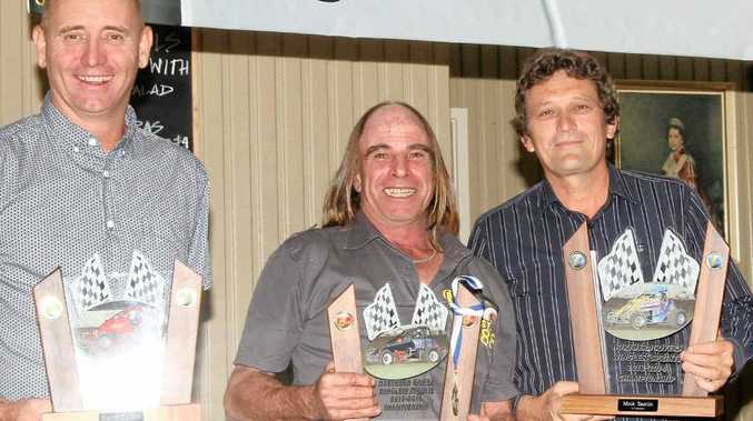 AWARD WINNERS: David Eggins, Murray Cross and Mick Santin claim their awards at the Northern Rivers Wingless Sprintcar presentation night in Lismore.