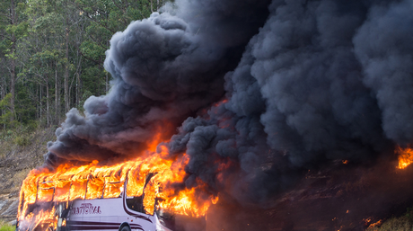 Images from the school bus fire at Chevallum