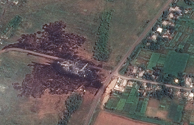 A satellite image shows the primary crash site of Malaysia Airlines Flight 17.