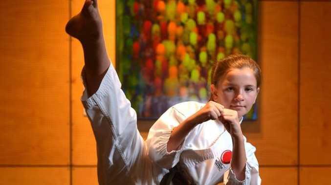 Daisy Miles at Karate pracice in Kawana. Photo John McCutcheon / Sunshine Coast Daily