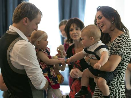 Catherine Duchess of Cambridge and Prince George attend an event for Plunket nurses and parents with their young children at Government House, Wellington