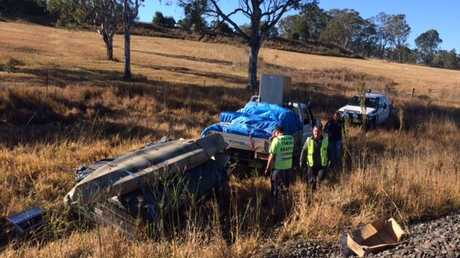 Police recover the stolen Land Cruiser near rail lines on Lilypool Rd at South Grafton