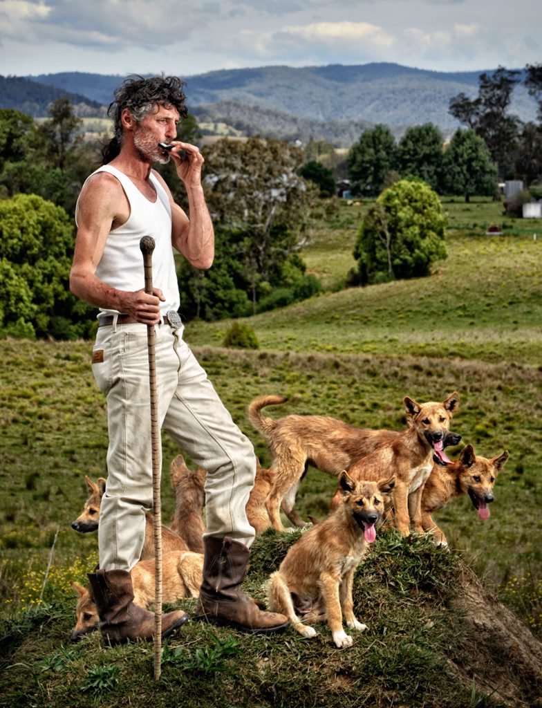 John Cooper on his Nymboida property with his dingo clan. Photo: Adam Hourigan/The Daily Examiner
