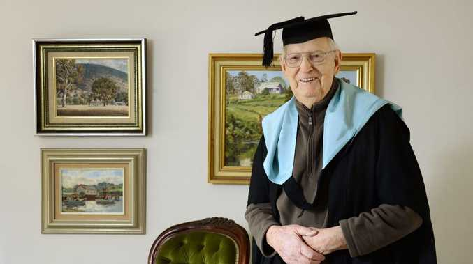 STILL LEARNING: Dr Geoffrey Swan, 87, of Eastern Heights, has graduated with a Masters of Arts (Research) at QUT.