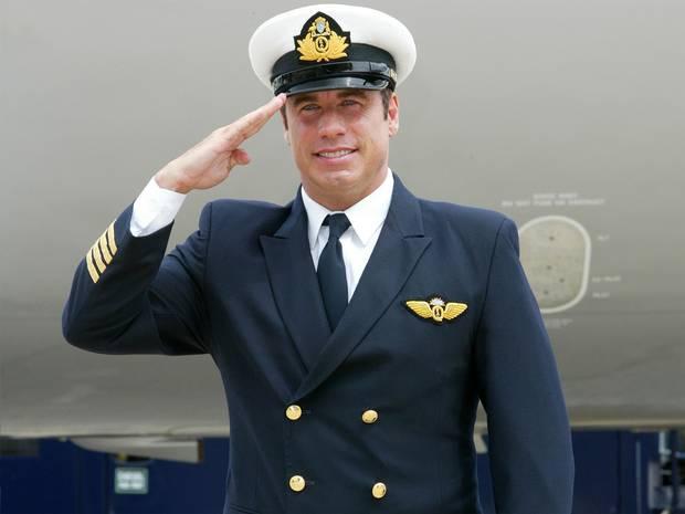 John Travolta in his airline pilot uniform.