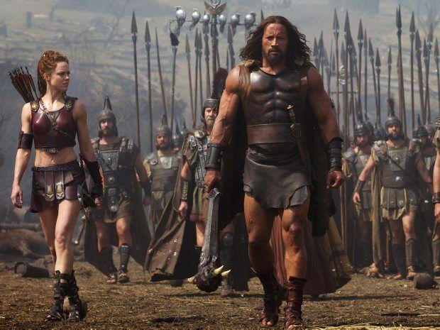 STUFF OF LEGEND: Ingrid Berdal, Dwayne Johnson, Reece Ritchie and Rufus Sewell in Hercules.