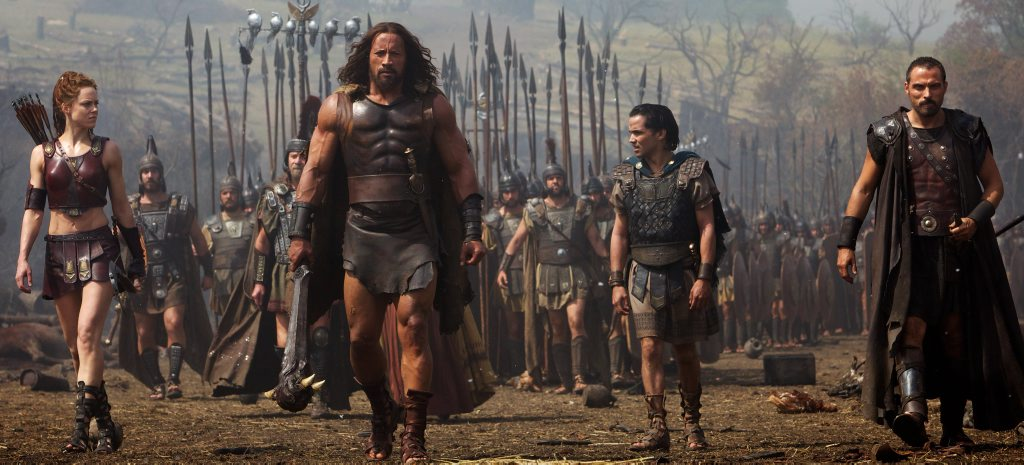 STUFF OF LEGEND: Ingrid Berdal, Dwayne Johnson, Reece Ritchie and Rufus Sewell in Hercules.
