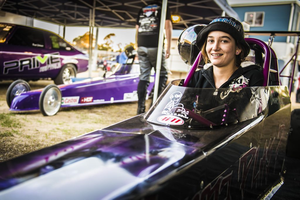 Alexis Barbeler with her junior dragster Wanna Play at the CQDRA round 6 meet at Benaraby Raceway.
