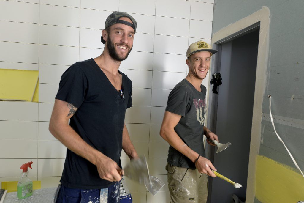 The Block Glasshouse contestants Shannon, left, and Simon Vos pictured during renovations. Photo: Martin Philbey