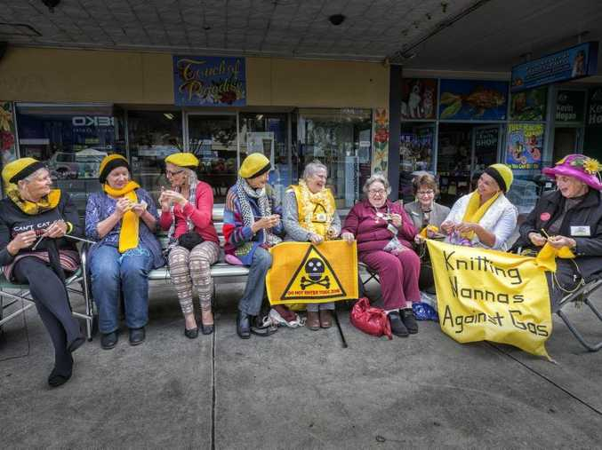 KNITTY GRITTY: The Knitting Nannas took their quiet CSG protest away from the front of Chris Gulaptis' office to the front of Kevin Hogan's after they had a meeting with him on Thursday morning. Photo: Adam Hourigan / The Daily Examiner