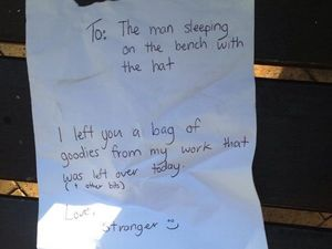 Heartfelt note to homeless man a timely reminder