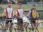 ( from left ) Steve Schoemaker, Marshall Cusworth, Jon Bennett, Hope across Australia ride. Thursday, July 25, 2014 . Photo Nev Madsen / The Chronicle