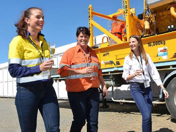 She's Empowered CEO Kym Clark (left), Thiess Mining Superintendent (Curragh North) Leah Ross and Puma Energy Qld/NSW commercial key account manager Jodanna Pullen celebrate Women in Mining Day at the Bubbles & Boots event at QME at the Mackay Showgrounds.