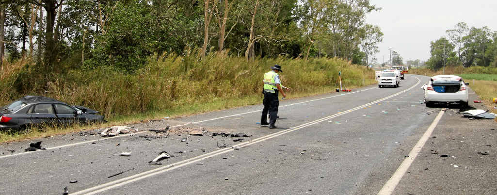 The scene of the Bruce Hwy crash near Pindi Pindi.