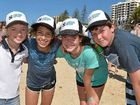 Jessica Collins, Marina Lima and Moira and Joseph Cairns get in the spirit of Beach Bash Sunshine Coast at Coolum Beach. PHOTO: BRETT WORTMAN