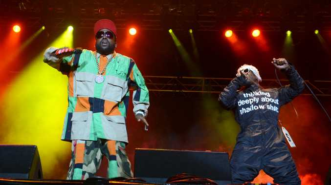 Big Boi and Andre 300 of Outkast perform at Splendour in the Grass.