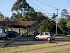 4WD dual cab ute snaps off powerpole at Base in Luck St. Sunday, July 27, 2014 . Photo Nev Madsen / The Chronicle