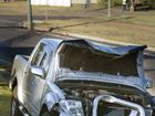 4WD dual cab ute snaps off power pole at Base in Luck St.