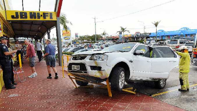 An elderly female flattened the handrails of the steps leading to JB Hi-Fi as she attempted to park in the busy Hervey Bay centre.