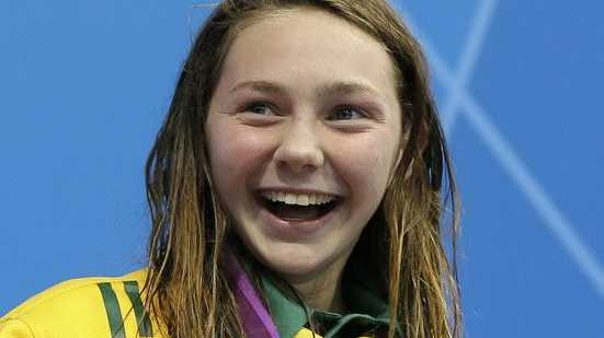 Australia's Maddison Elliott smiles during the medal ceremony after taking bronze in the women's 400m Freestyle S8 category at the 2012 Paralympics, Friday, Aug. 31, 2012, in London.