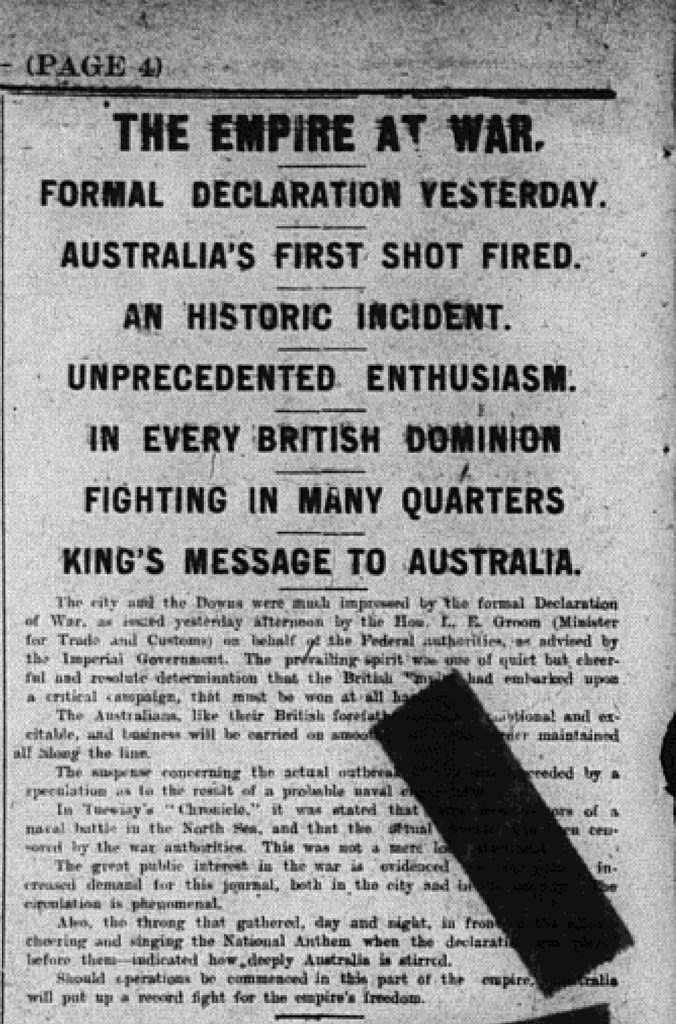 How The Chronicle reported the start of the First World War.