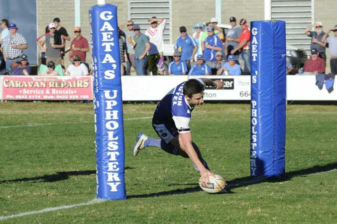 Grafton Ghosts versus South Grafton Rebels in round 14 of Group 2 rugby league match at McGuren Park Grafton on Sunday. Ghosts Mitchell Lollback goes over to score another try during the match. Photo Debrah Novak / The Daily Examiner