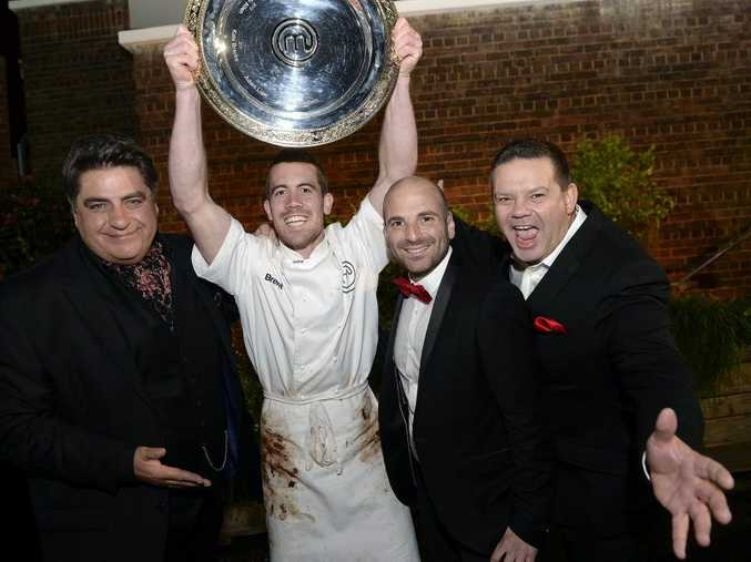 MasterChef Australia 2014 winner Brent Owens pictured with judges Matt Preston, left, George Calombaris and Gary Mehigan.
