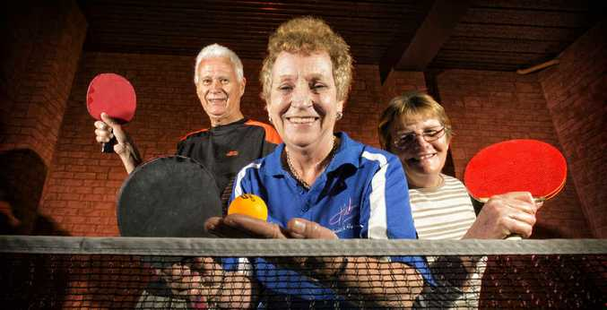 AT YOUR SERVICE: Ken Jackson, Helen Williams and Karen Ferrie are looking for members to join their table tennis group.