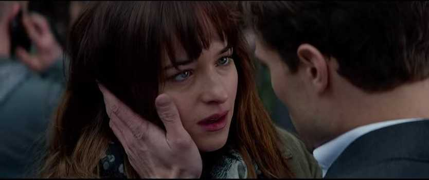 A scene from the 50 Shades of Grey movie trailer.