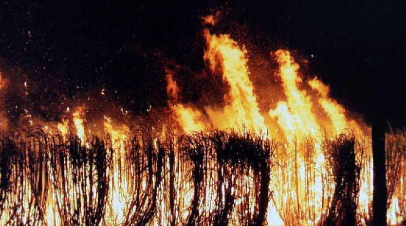 BUNDY'S BLACK SNOW: Cane fires burning at the Cayley's property at Alloway over the years.