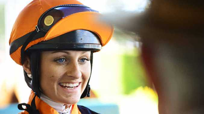 SATISFYING ACHIEVEMENT: Ipswich apprentice jockey of the year Cassandra Schmidt looks pleased with her winning effort aboard Cut Up at Ipswich racetrack last Friday.