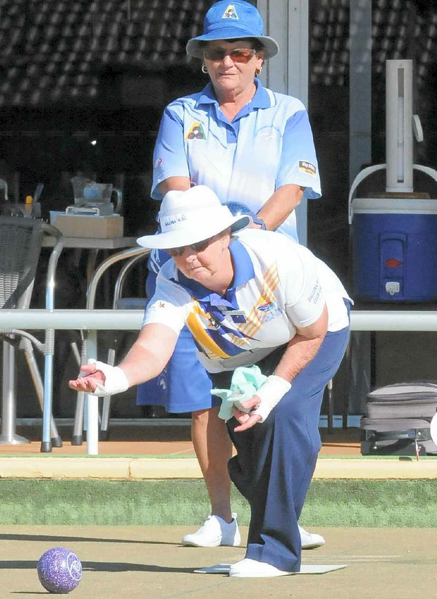 Dot Eggins from Ballina RSL Bowling Club with Ann Brown from Ballina Cherry Street Bowling Club competing in the Ladies Club Championships singles bowls event at Alstonville Bowling Club last Friday.