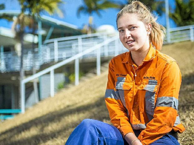 EQIP graduate Alex Cooper, 16, started as an apprentice fitter and turner at Rio Tinto Alcan Yarwun this year after deciding child care and teaching were not for her.