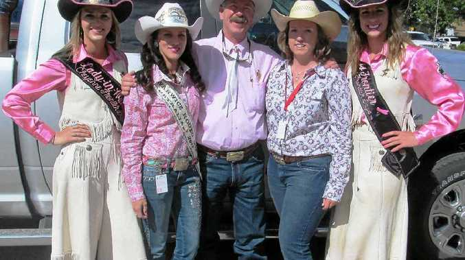 RODEO ROYALTY: (From left) Cheyenne Frontier Days Lady in Waiting Sara Rangitsch, Warwick Rodeo Queen Danika Boland, Cheyenne Frontier Days public relations chairman Bob Budd, Warwick Rodeo Queen co-ordinator Kate Christensen and Miss Cheyenne Frontier Days Kaci Malmborg.