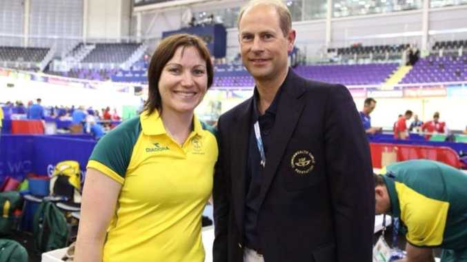 Anna Meares with Prince Edward at the Glasgow Commonwealth Games 2014, as posted on Facebook by the cycling star